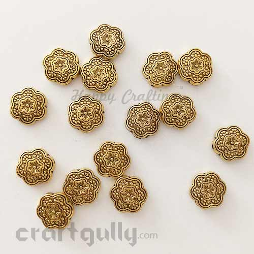 German Silver Beads 10mm - Flower #1 - Antique Golden Plating - Pack of 4