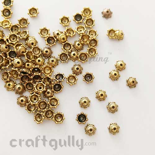 Bead Caps 6mm - German Silver - Mini Dome - Antique Golden Plating - Pack of 10