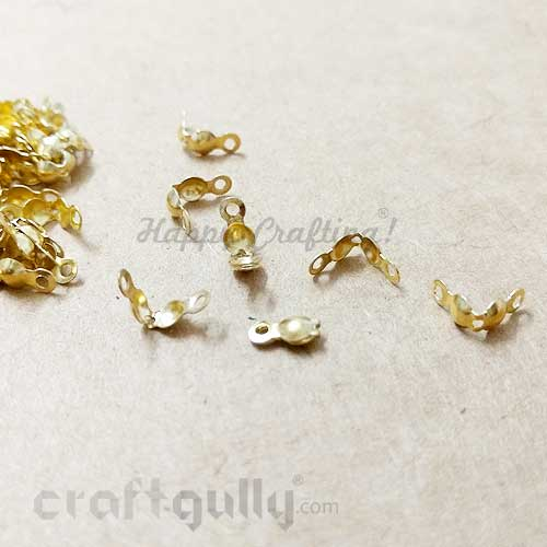 Crimp Ends 8mm - Clamshells / Calottes - Golden Finish - Pack of 50