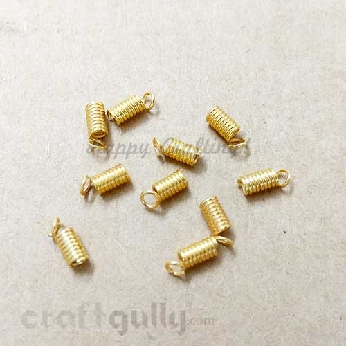 Cord Ends 10mm - Spring - Golden Finish - Pack of 10