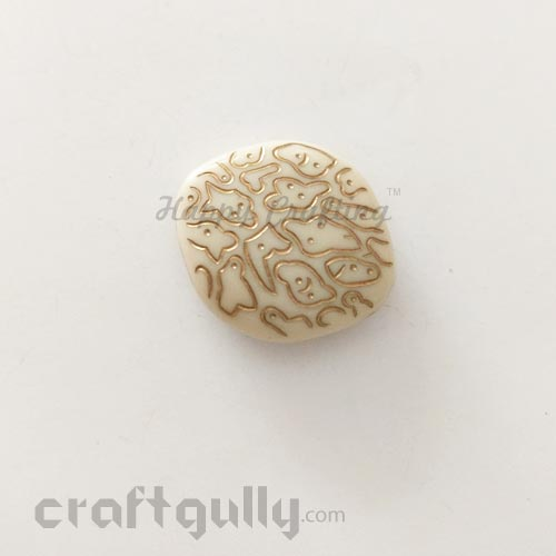 Acrylic Beads 28mm - Wide Marquise - Ivory and Golden - Pack of 1