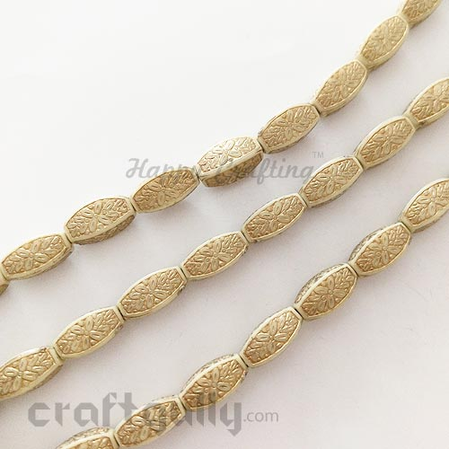 Acrylic Beads 13mm - Pipe - Ivory and Golden - Pack of 4