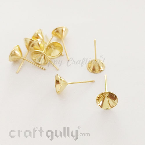 Earring Studs 8mm - Cup - Golden Finish - 10 Pairs
