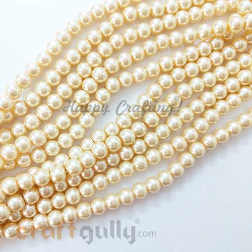 Glass Beads 7.5mm - Faux Pearl Round - Light Golden - Pack of 20