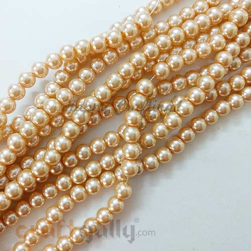 Glass Beads 7mm - Faux Pearl Round - Champagne - Pack of 20