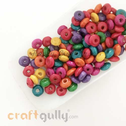 Wooden Beads 3mm - Rondelle - Assorted - 10 gms