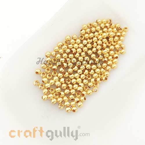 Seed Beads 3mm - Metal - Round - Golden Finish - 5gms