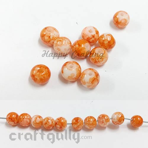 Glass Beads 8mm - Round Mottled - Orange - Pack of 10
