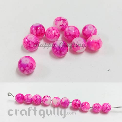 Glass Beads 8mm - Round Mottled - Dark & Bright Pink - Pack of 10