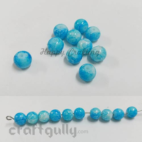 Glass Beads 8mm - Round Mottled - Sky Blue - Pack of 10