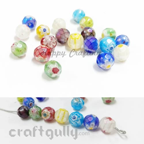 Glass Beads 8mm Millefiori - Round Faceted - Assorted - Pack of 20