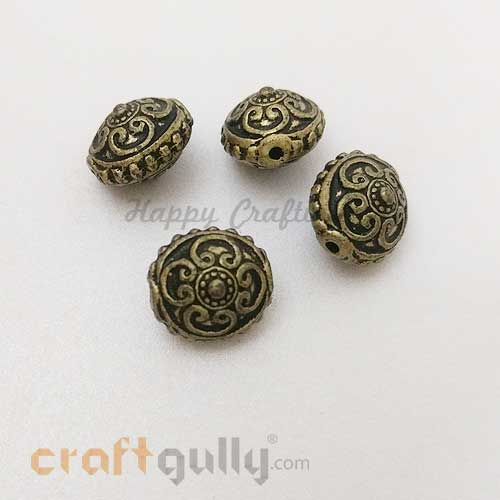 Acrylic Beads 15mm - Oval - Design #2 - Bronze - Pack of 4