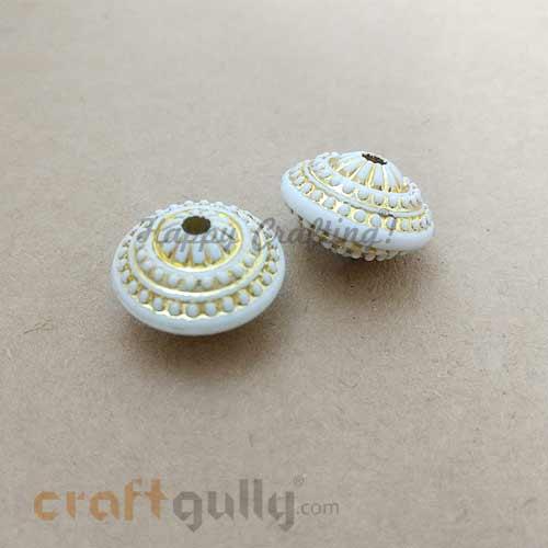 Acrylic Beads 13mm - Bicone Design #3 - White & Gold - 2 Beads