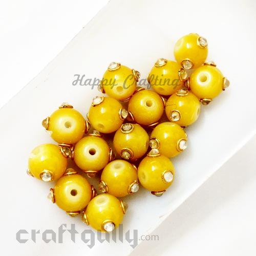 Glass Beads 10mm - Round With Kundan - Yellow - Pack of 2