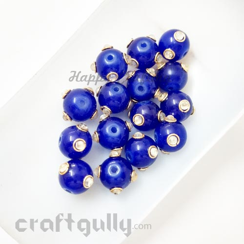 Glass Beads 10mm - Round With Kundan - Royal Blue - Pack of 2