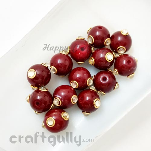 Glass Beads 10mm - Round With Kundan - Maroon - Pack of 2