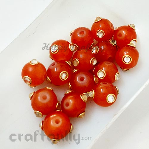 Glass Beads 10mm - Round With Kundan - Dark Orange - Pack of 2