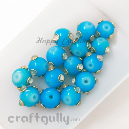 Glass Beads 10mm - Round With Kundan - Sea Blue - Pack of 2
