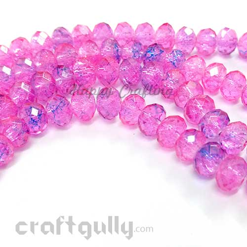 Glass Beads 8mm - Round Faceted Crackle - Pink & Blue - Pack of 10