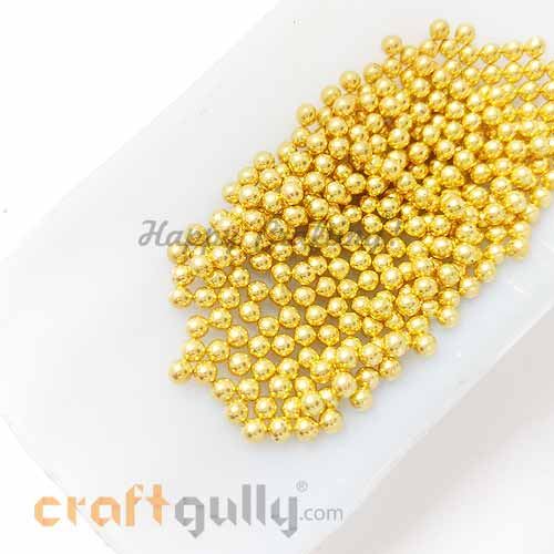 Acrylic Beads 3mm - Golden Without Hole - 5gms