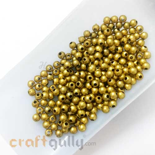 Acrylic Beads 4mm - Round - Antique Golden - 10gms