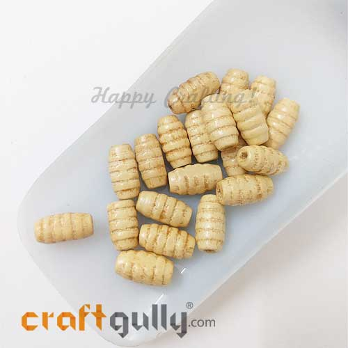Wooden Beads 15mm - Design #2 - Dhol - Natural - Pack of 20