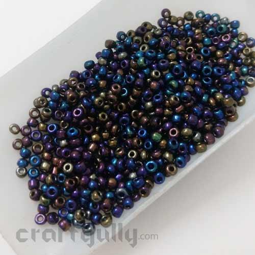 Seed Beads 3mm Glass - Round - Black Rainbow Lustre - 25gms