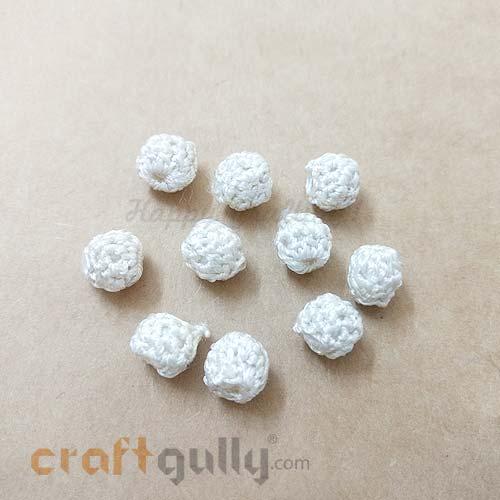 Crochet Beads 9mm - Round - Cream - Pack of 6