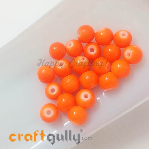 Glass Beads 7mm - Round - Neon Orange - Pack of 20