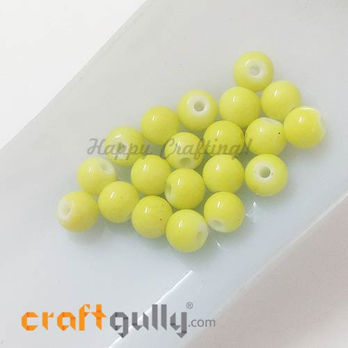 Glass Beads 7mm - Round - Neon Yellow - Pack of 20