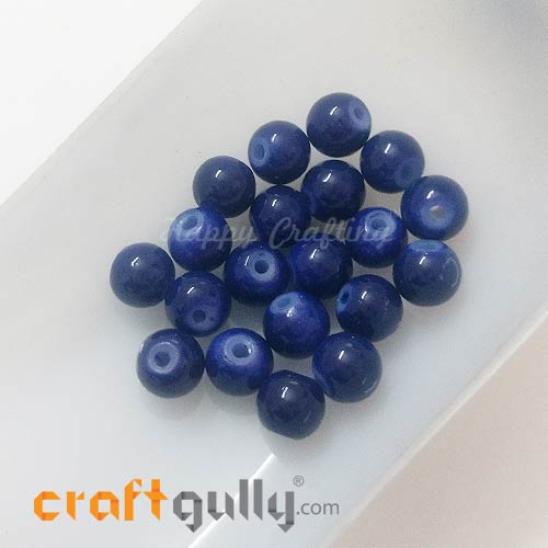 Glass Beads 7mm - Round - Dark Blue - Pack of 20