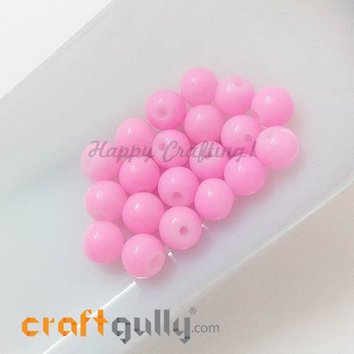 Glass Beads 7mm - Round - Baby Pink - Pack of 20