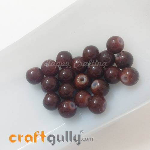 Glass Beads 7mm - Round - Dark Brown - Pack of 20