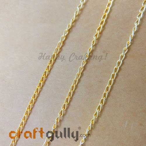 Chains - Oval Flat 5mm - Golden Finish - 36 Inches