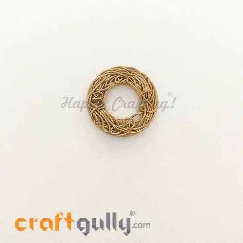 Metal Beads 21mm - Designer #12 - Golden Finish - Pack of 1