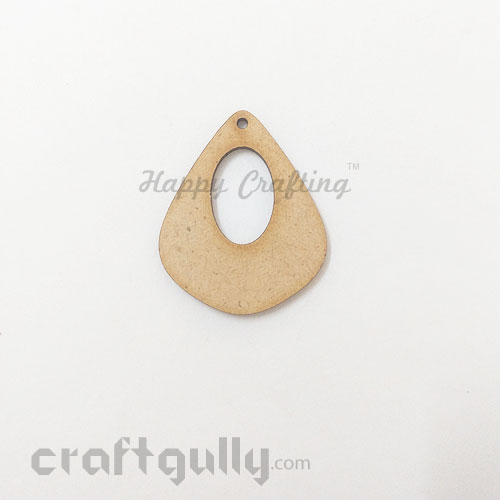 Earring / Pendant Base - MDF - 42mm - Drop - Pack of 1