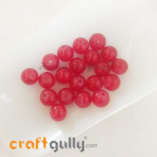 Glass Beads 8mm - Round - Trans. Red - 20 Beads