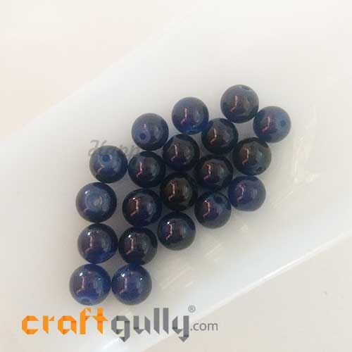 Glass Beads 8mm - Round - Trans. Dual Blue - 20 Beads