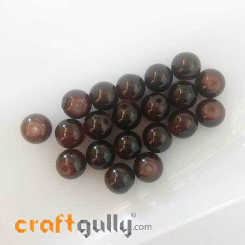 Glass Beads 8mm - Round Trans. Caramel Brown - 20 Beads