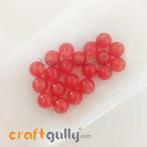 Glass Beads 8mm - Round - Trans. Dark Orange - 20 Beads