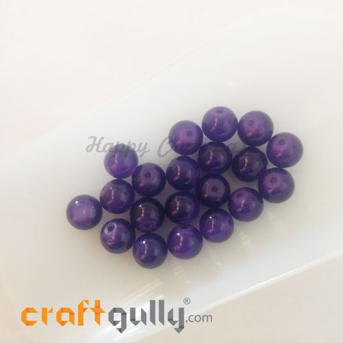 Glass Beads 8mm - Round Trans. Purple - 20 Beads