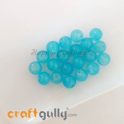 Glass Beads 8mm - Round - Trans. Sea Blue - 20 Beads