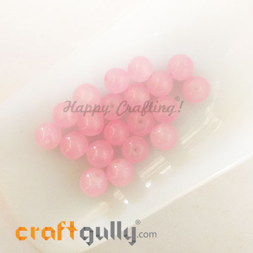 Glass Beads 8mm - Round - Trans. Baby Pink - 20 Beads