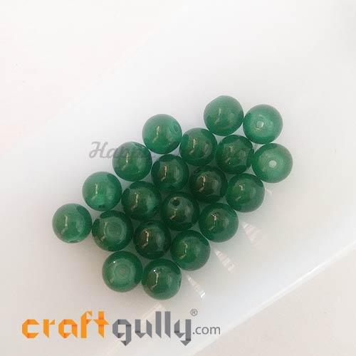 Glass Beads 8mm - Round - Trans. Dark Green - 20 Beads