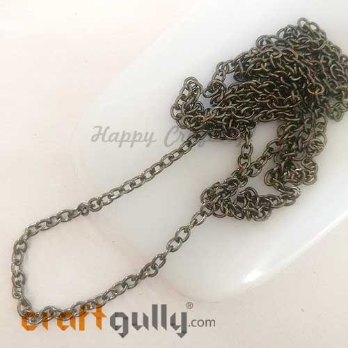Chains - Oval 4mm - Gun Metal Finish - 34 Inches