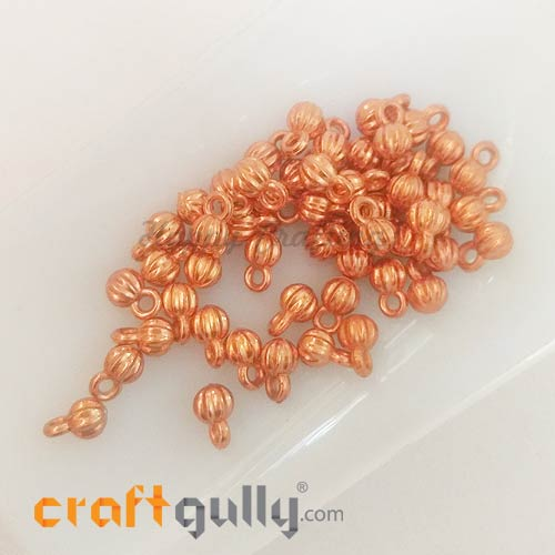 Charms 8mm Acrylic - Pumpkin - Rose Gold - 50 Charms