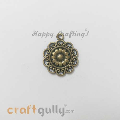 Charms 26mm Metal - Design #3 - Bronze Finish - 3 Charms