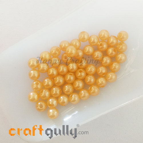 Acrylic Beads 5.5mm Faux Pearl Round - Golden Orange - 50 Beads