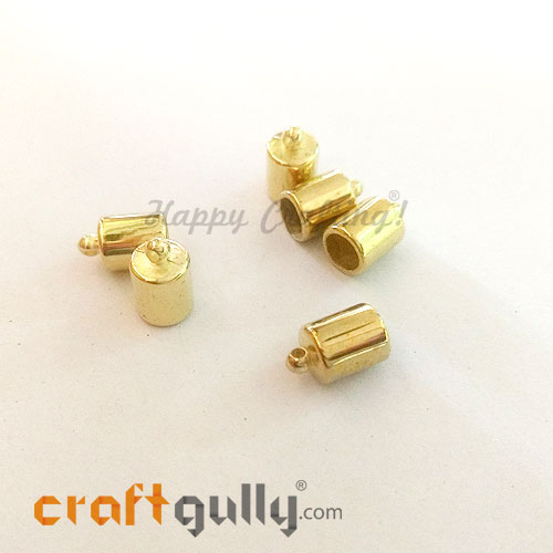 Tassel Caps #5 - 8mm Cylinder - Golden Finish - Pack of 6