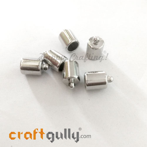 Tassel Caps #6 - 8mm Cylinder - Silver Finish - Pack of 6